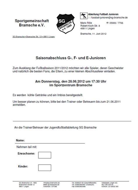 Muster Einladung Abschlussfeier Saisonabschluss Jugendabteilung Sg Bramsche Einladungen