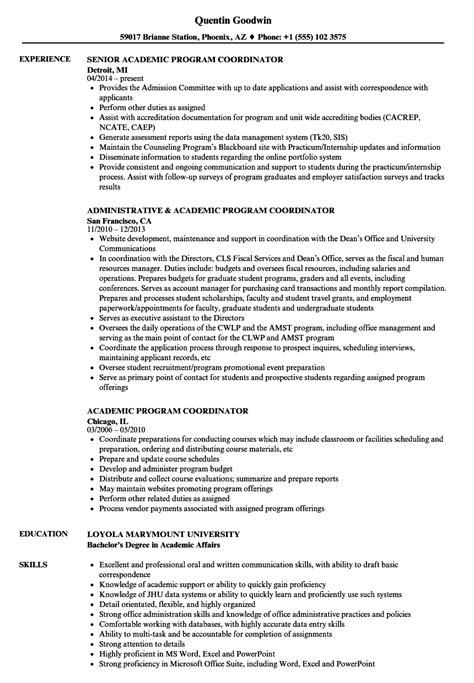 Program Coordinator Resume by Academic Program Coordinator Resume Sles Velvet