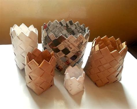 Paper Crafts Recycled Newspaper - recycled paper baskets make it your library