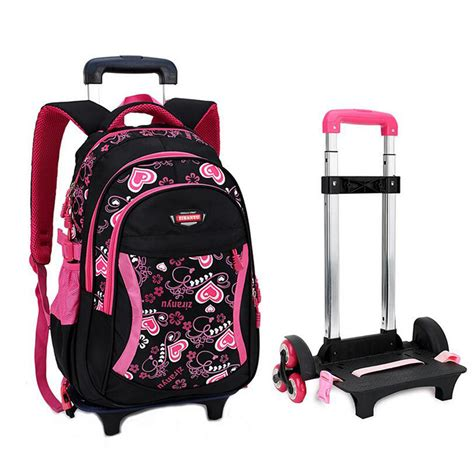 Tas Backpack Bunny 2in1 Black trolley school bag for with three wheels backpack children travel bag rolling luggage