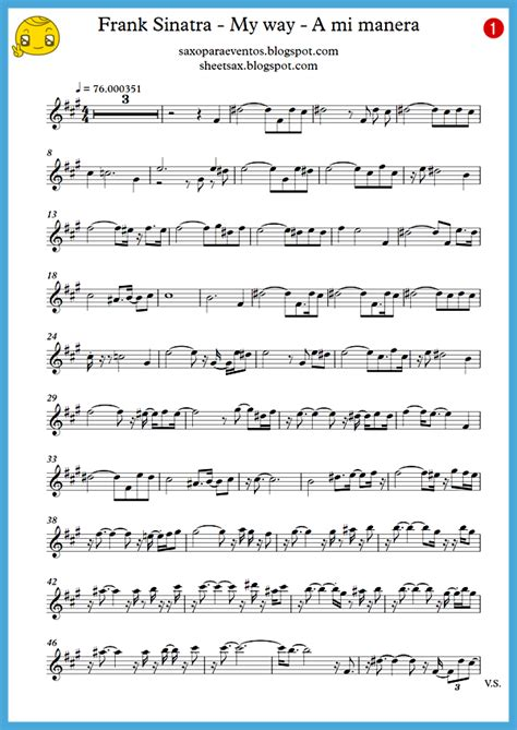 frank saxophone quot my way quot frank sinatra score and track sheet free
