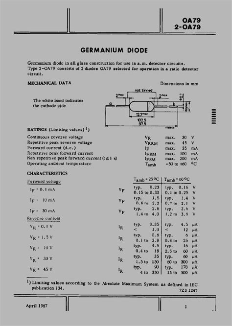 silicon diode cutoff voltage oa79 1291761 pdf datasheet ic on line