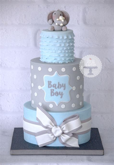 Boy Or Baby Shower Cake by A Baby Boy Blue And Grey Baby Shower Cake Based On A