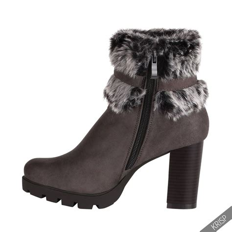 faux fur high heel boots womens block high heel ankle boots faux fur buckle