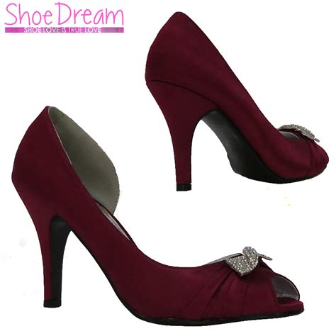 Burgundy Wedding Shoes by L3w Burgundy Satin Peeptoe Mid Height