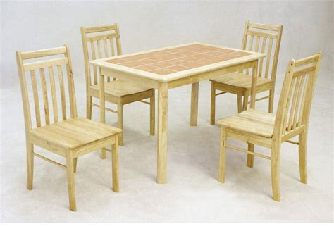 4 Chair Wooden Dining Table Wooden Dining Table And 4 Chairs Solid Rubberwood With Tiled Top