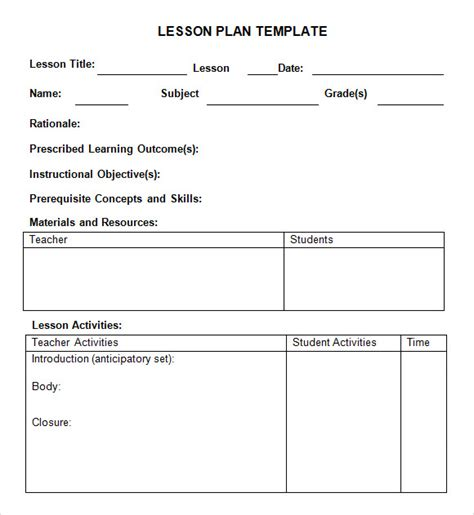 Lesson Plan Template by Sle Weekly Lesson Plan 8 Documents In Word Excel Pdf