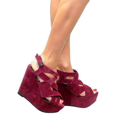 womens high heel wedges womens chunky high heel platform strappy wedges peep toe