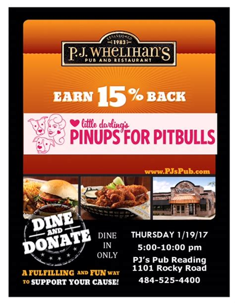 Dine Donate At Pj Whelihan S Pa Meet 2017 Pin Up Nikki Pinups For Pitbulls Dine And Donate Flyer Template
