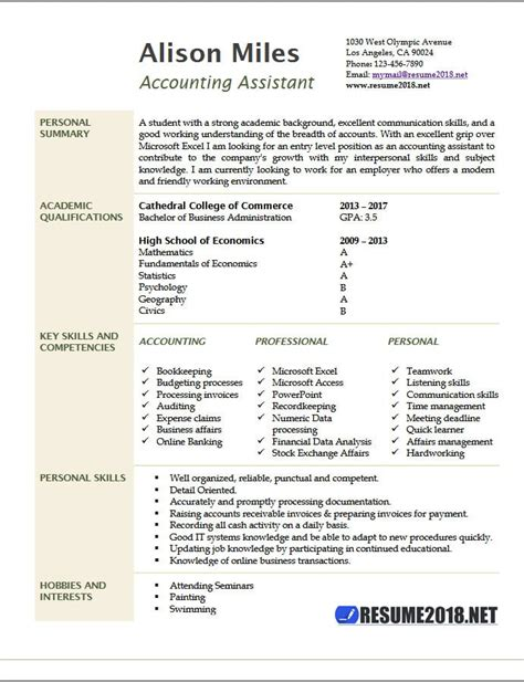 Accounting Assistant Resume by Accounting Assistant Resume Sles 2018 Resume 2018