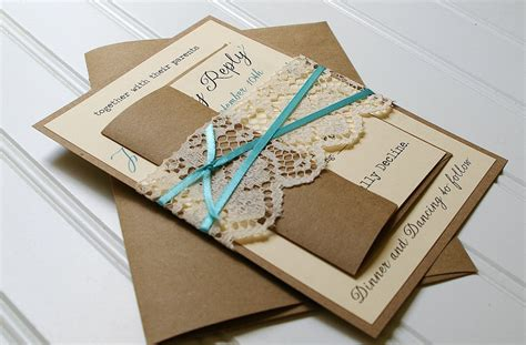 Handmade Invites - blue ribbon and lace wedding invitations by