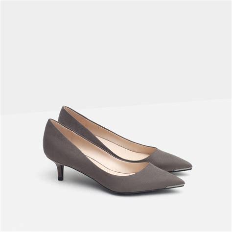 zara mid heel shoes in gray lyst