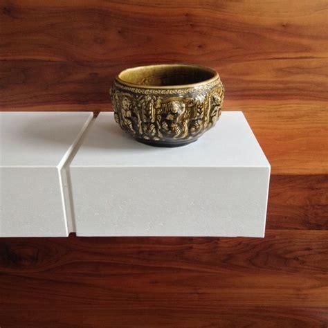 Concrete Floating Shelf by Floating Concrete Shelf On Walnut Wall Concrete