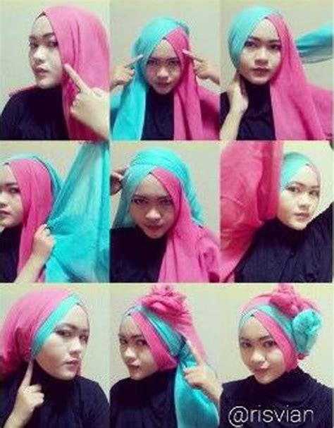tutorial jilbab segi empat pesta tutorial jilbab dua warna by riska 4 30 tutorial hijab