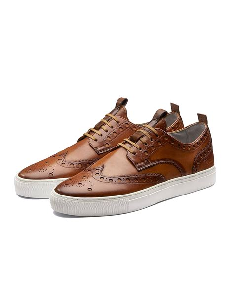 brogue sneaker grenson shoes mens sneaker 3 brogue trainers leather