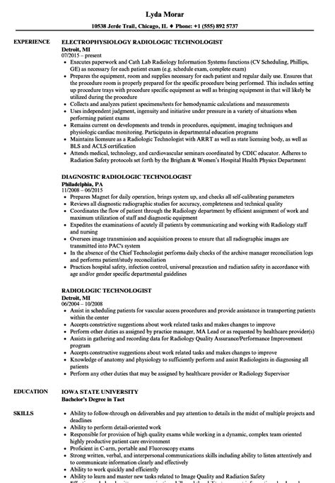 radiologic technologist resume sles radiology resume sle resume for usable resume templates