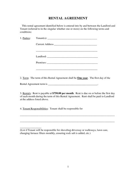 tenant landlord agreement template 10 best images of rental agreements for landlords rental