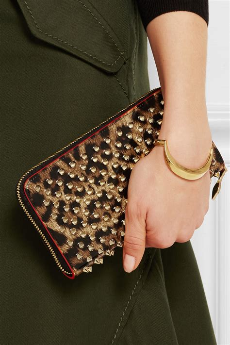Christian Louboutin Wallet Uk by Christian Louboutin Panettone Spiked Leopard Print Zip Wallet Lyst