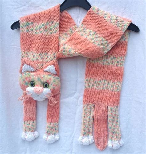 Knitting Pattern Cat Scarf | knitted cat scarf pattern free video tutorial