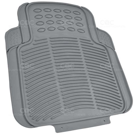 gray 2pc rubber utility floor mats for car truck suv