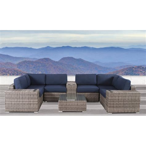 sol  outdoor lazaro  piece rattan sectional seating