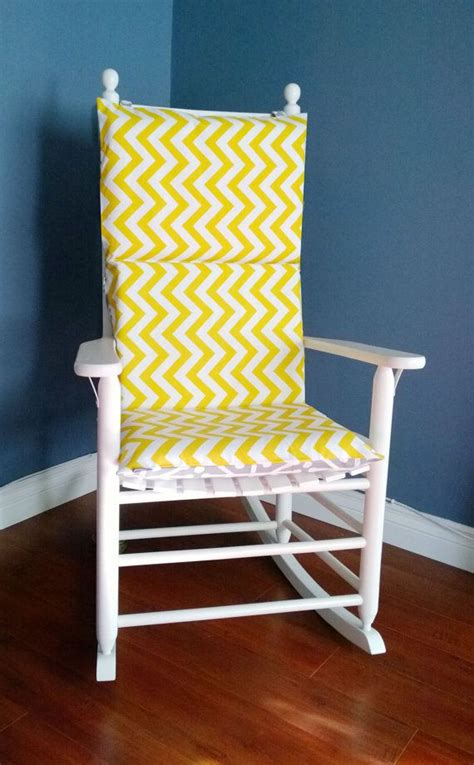 Rocking chair cushion for baby nursery yellow chevron grey aruba by rockincushions 75 00