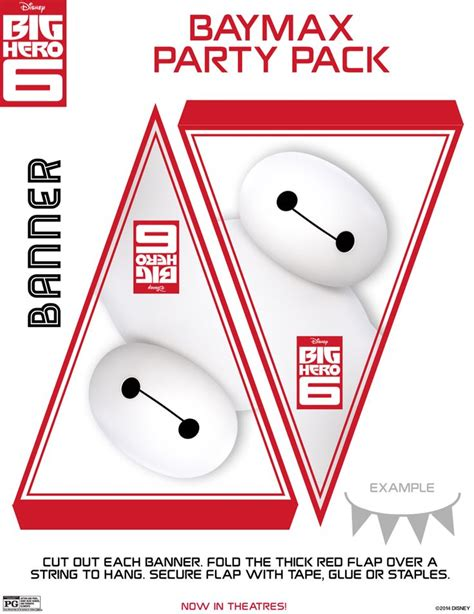 Flag Paper Baymax Happy Birthday baymax banner flags big 6 printables heroes and flags