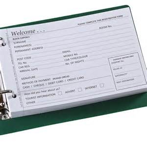 guest registration forms hotel stationery out of