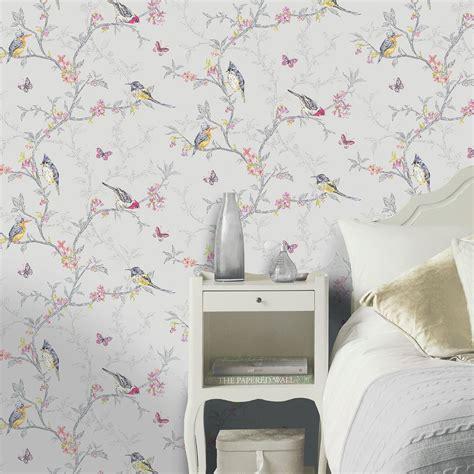 Wallpaper Sticker 10m Merah Soft Putih holden decor phoebe birds wallpaper in soft teal dove grey white or ebay