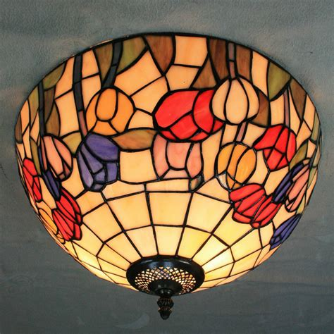 16 Inch European Retro Style Tiffany Colourful Flowers Stained Glass Flush Mount Ceiling Light