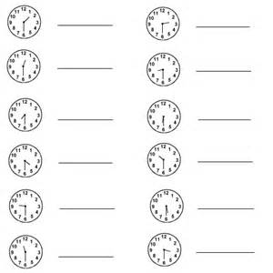 Math and numbers time clock exercise write down the correct time