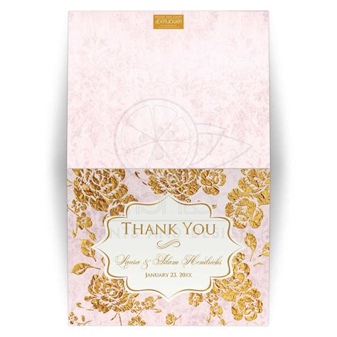 gold and pink flower cards template personalized wedding thank you card vintage floral