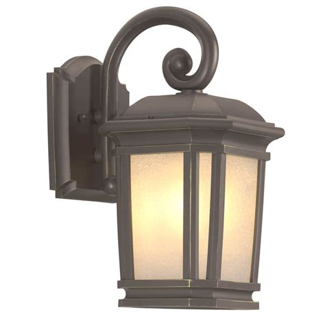 shop portfolio corrigan 13 25 in h brass outdoor wall light at lowes Lowes Patio Lighting