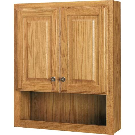 Oak Bathroom Cabinets Storage Shop Style Selections 23 25 In W X 28 In H X 7 In D Oak Bathroom Wall Cabinet At Lowes