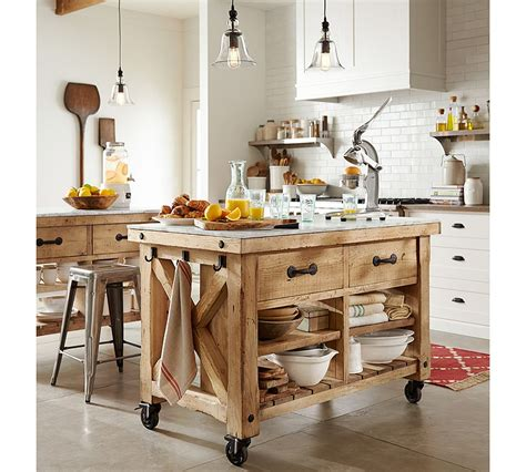 pottery barn kitchen island how to set up a kitchen work triangle