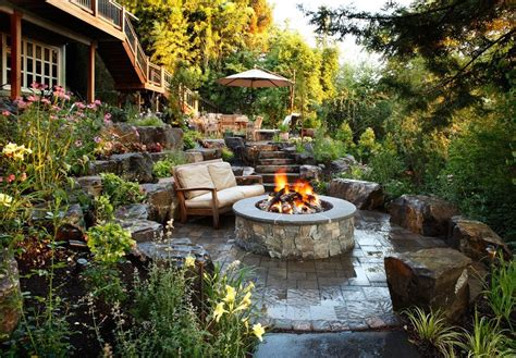 great backyards magazine tiered stone garden surrounds fire pit quot great backyards