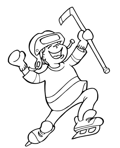 coloring pages of hockey players hockey coloring page boy celebrating a goal