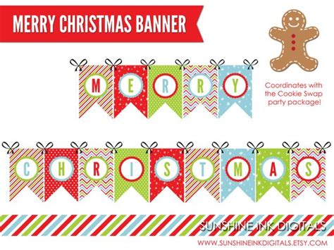 Printable Merry Christmas Banner Christmas Decoration Merry Banner Template