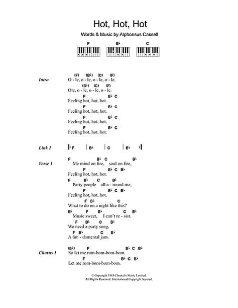 hot sheets hot hot hot sheet music by arrow lyrics piano chords