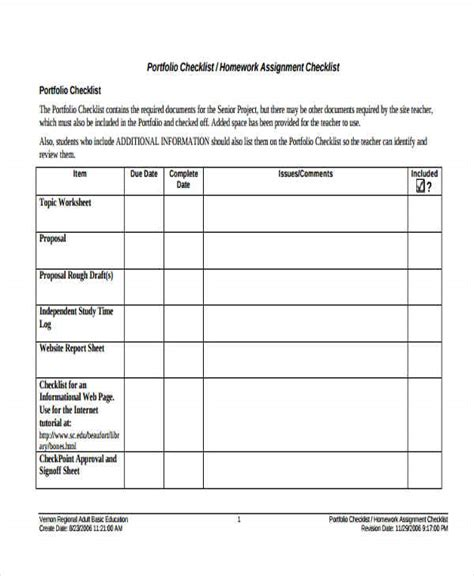 homework to do list template assignment checklist templates 8 free word pdf format