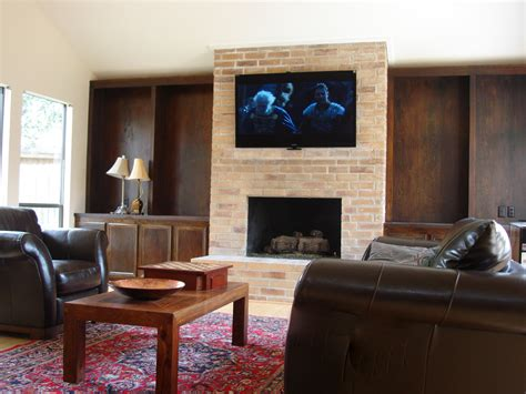 mount tv brick fireplace gallery houston brick tv fireplace installation 832