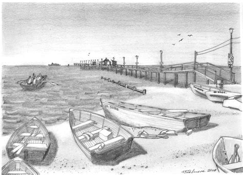doodle viewer harrisons pier view drawing by vic delnore