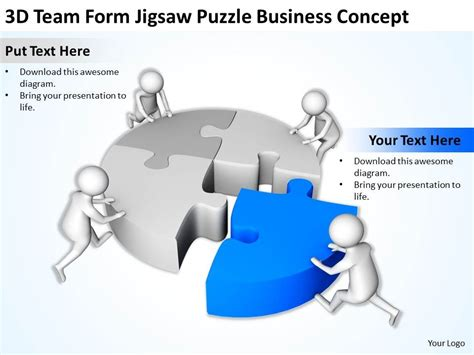 corporate templates for powerpoint free download 3d team form jigsaw puzzle business concept ppt graphics