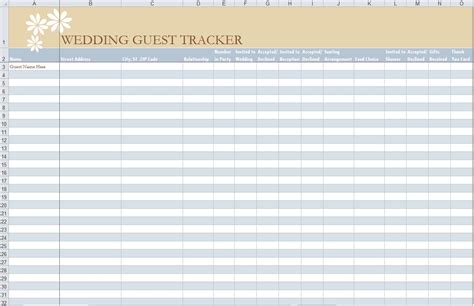 excel wedding guest list template endowed depict style me pretty on