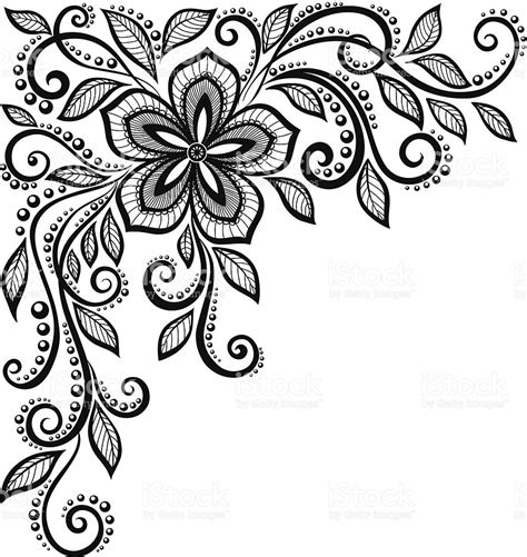 black and white embroidery patterns beautiful blackandwhite lace flower in the corner stock