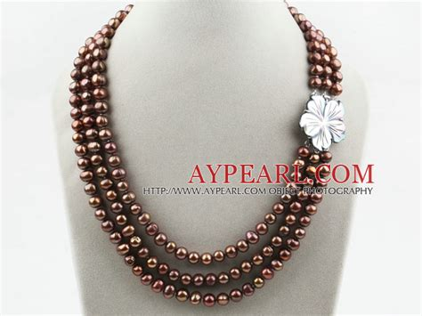 Kalung Mutiara 3 Colors Tc02 three strands coffee brown color freshwater pearl necklace with white shell flower clasp