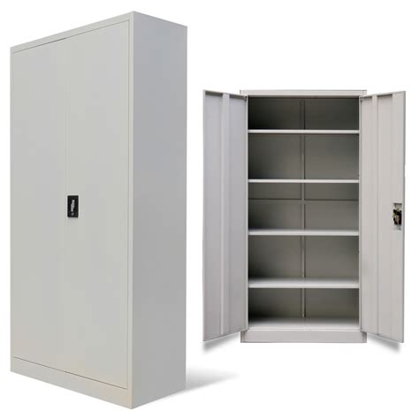 Metal Office Cabinet by Vidaxl Co Uk Metal Office Cabinet 2 Doors 180 Cm Grey