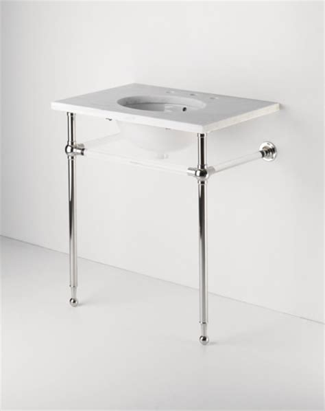 bathroom console sink metal legs crystal metal round two leg single washstand traditional