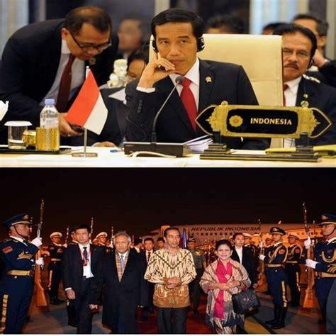 Celana Loreng Luar Negeri baju presiden jokowi saat lawatan ke luar negeri dasi merah dan batik