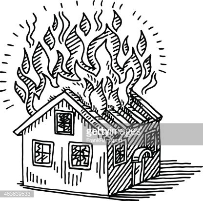 coloring page of house on fire burning house disaster drawing vector art getty images